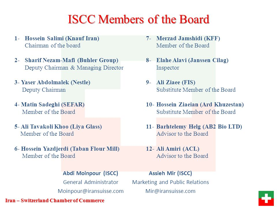 ISCC Members of the Board
