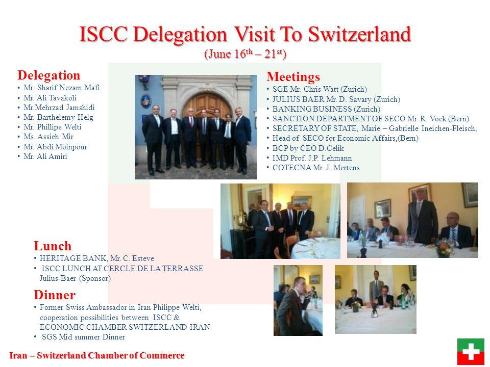 ISCC Delegation Visit To Switzerland