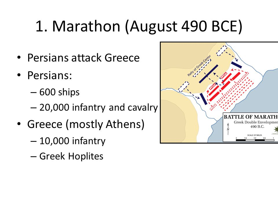 1. Marathon (August 490 BCE) Persians attack Greece Persians: