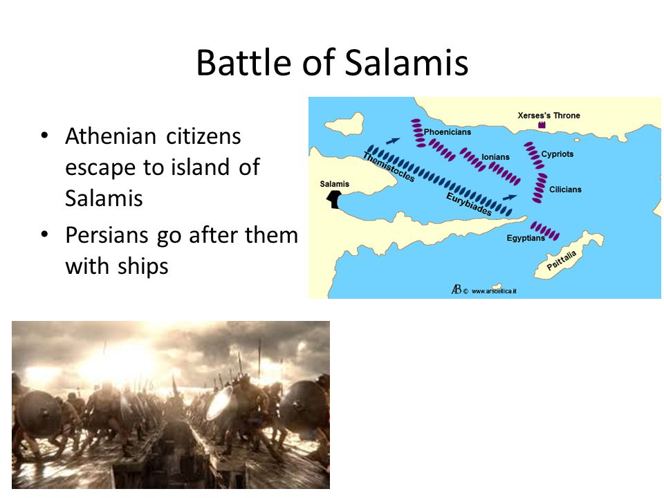 Battle of Salamis Athenian citizens escape to island of Salamis