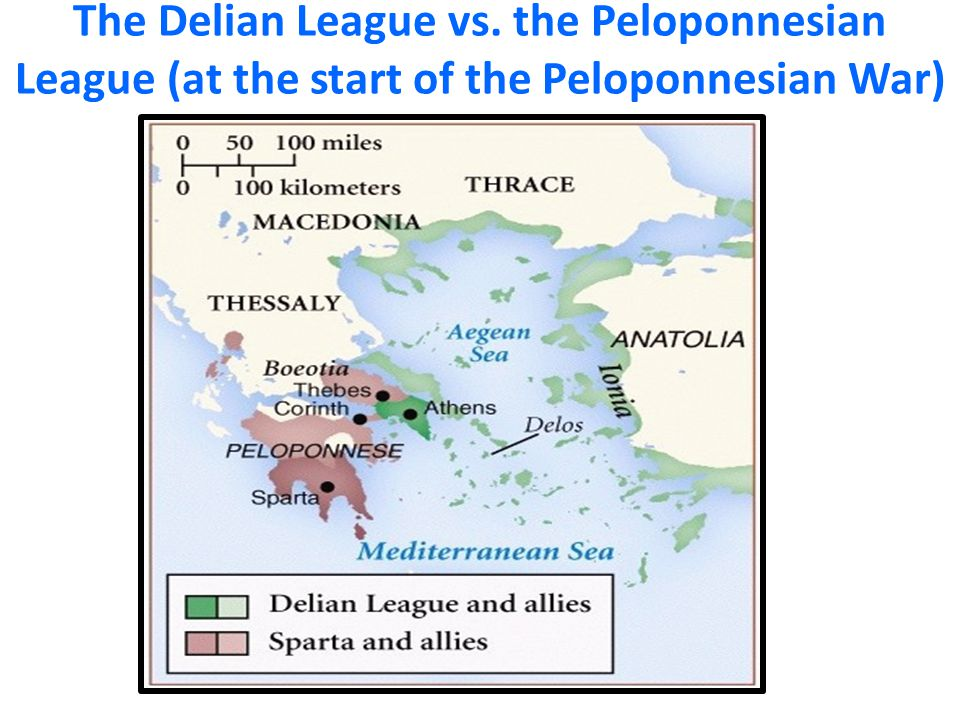 The Delian League vs. the Peloponnesian League (at the start of the Peloponnesian War)