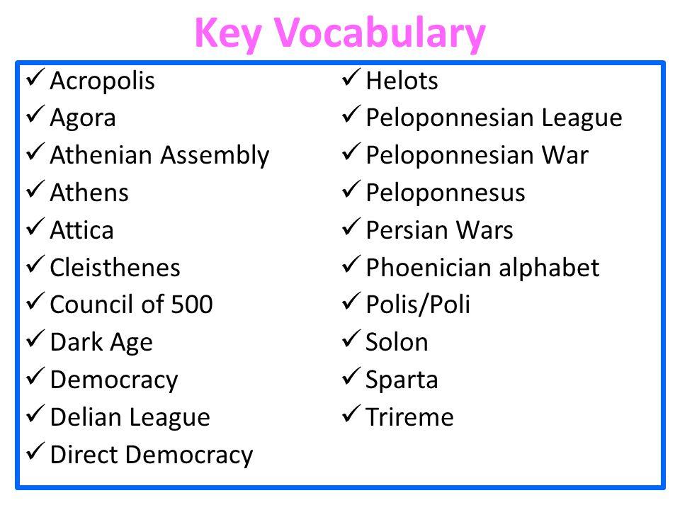 Key Vocabulary Acropolis Helots Agora Peloponnesian League