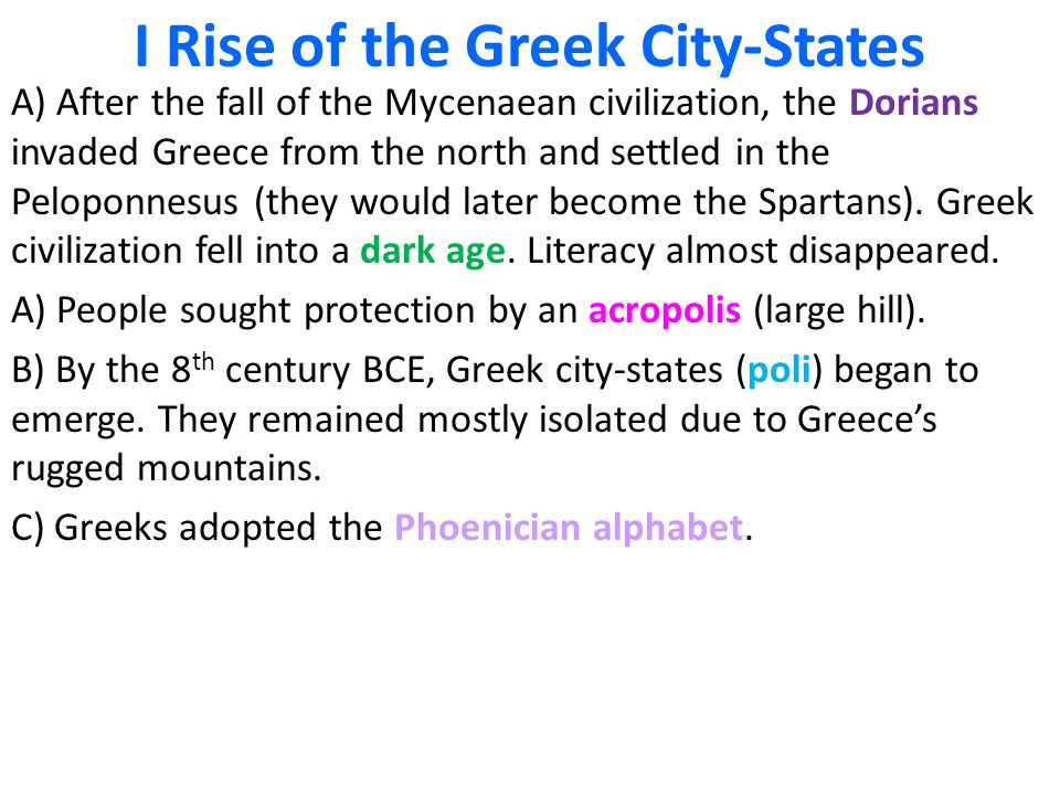 I Rise of the Greek City-States