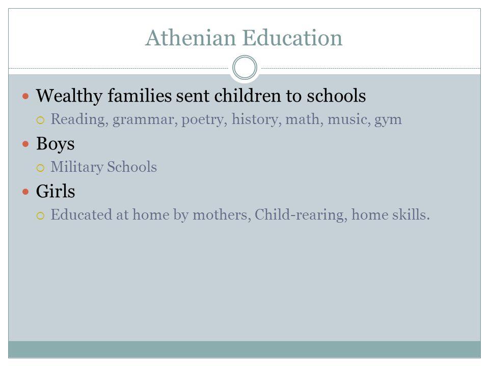 Athenian Education Wealthy families sent children to schools Boys