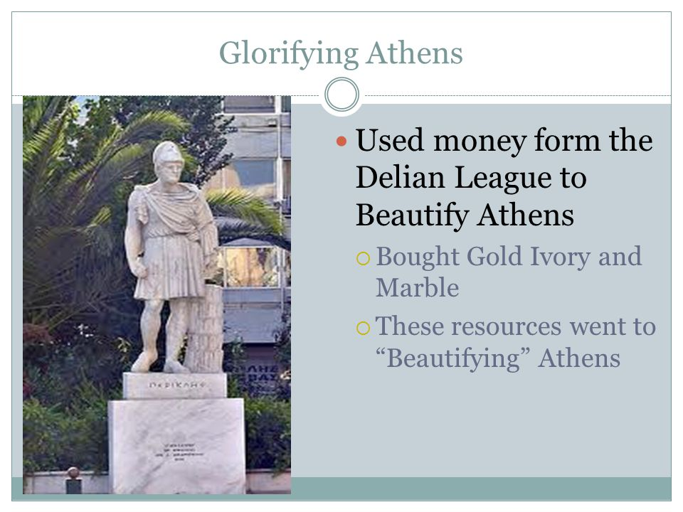 Used money form the Delian League to Beautify Athens
