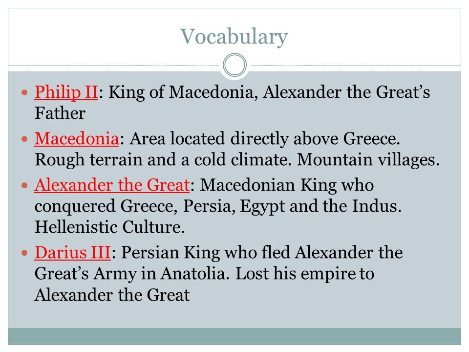 Vocabulary Philip II: King of Macedonia, Alexander the Great's Father