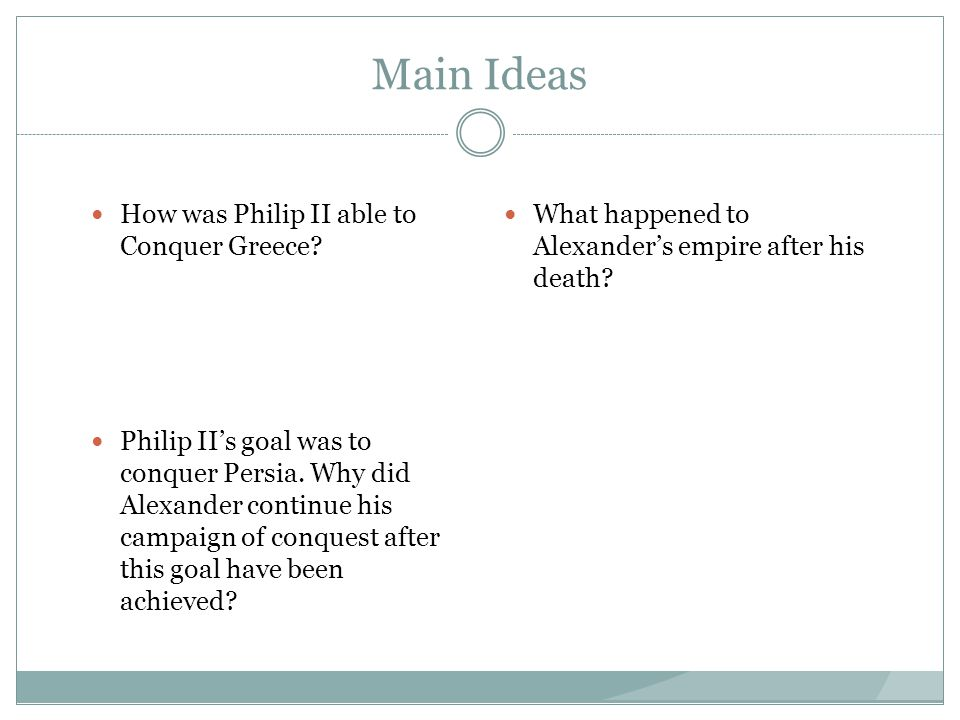 Main Ideas How was Philip II able to Conquer Greece