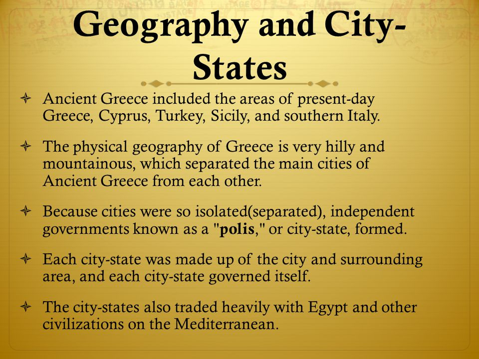 Geography and City-States