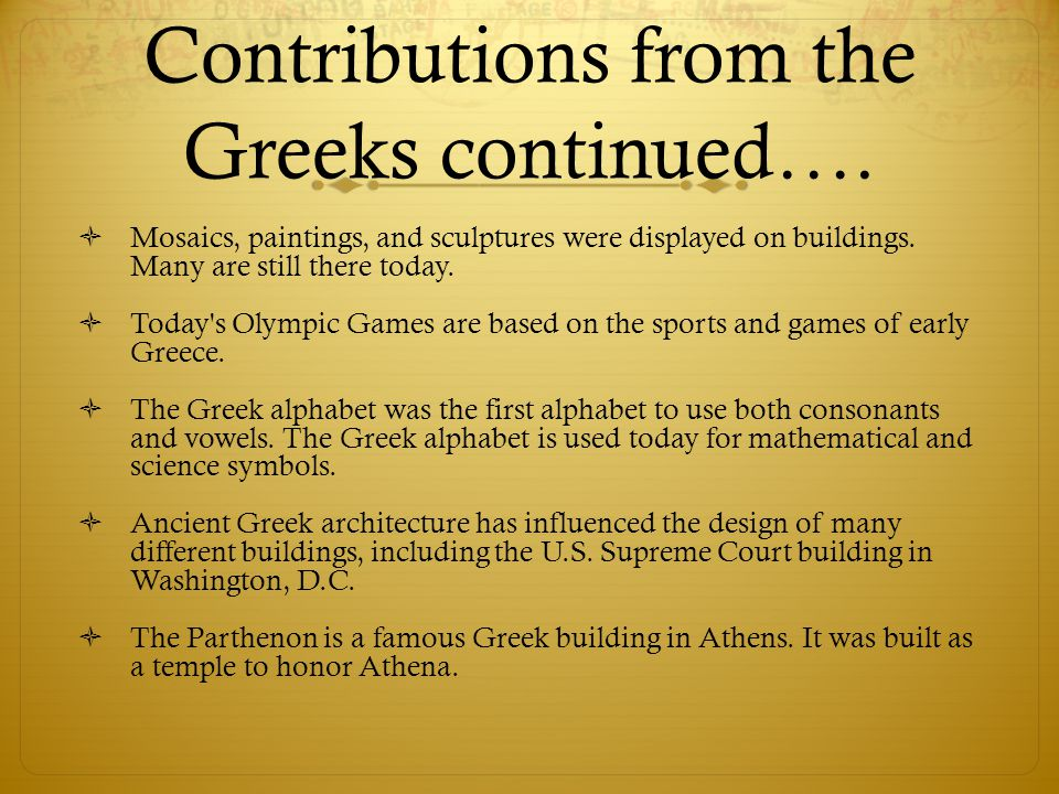Contributions from the Greeks continued….