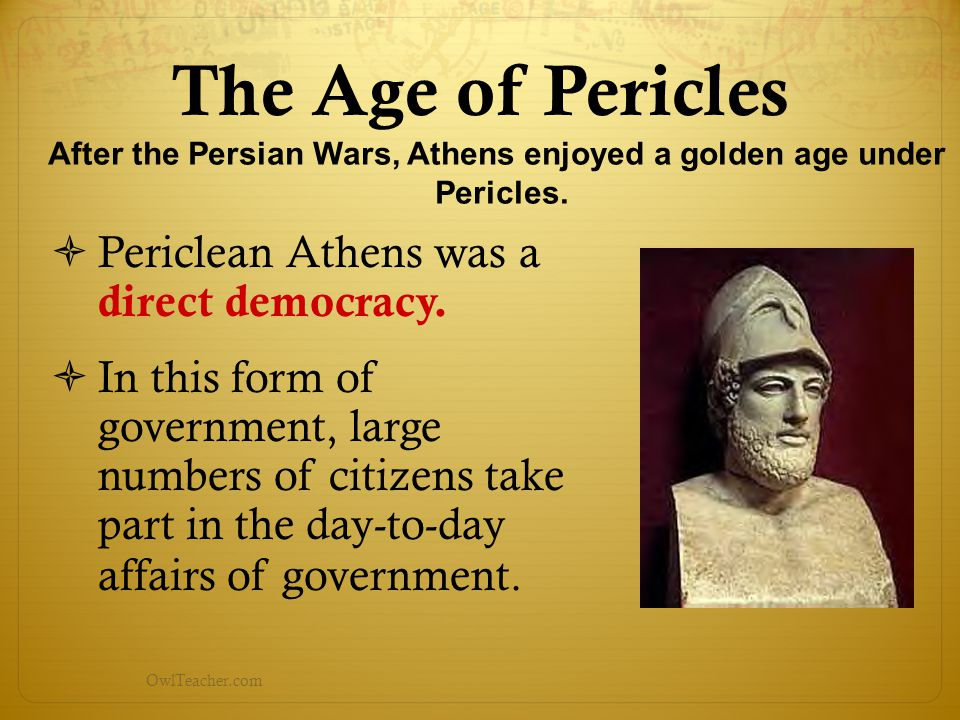 After the Persian Wars, Athens enjoyed a golden age under