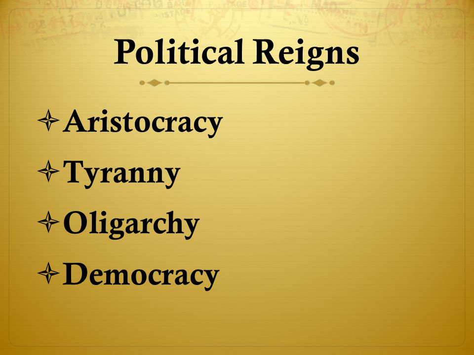 Political Reigns Aristocracy Tyranny Oligarchy Democracy