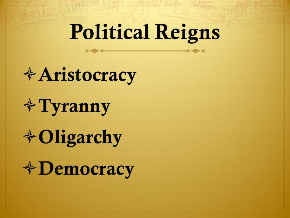Political Reigns Aristocracy Tyranny Oligarchy Democracy