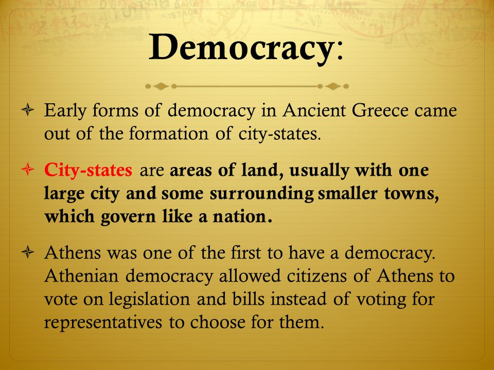 ancient greece the roots of democracy The term democracy comes from the greek language and means rule by the  people  democracy was an unknown and alien concept in the ancient world,  and athenians knew that their political  essay on roots of american  democracy.