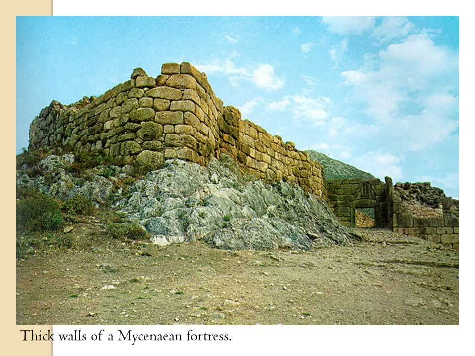 Thick walls of a Mycenaean fortress.