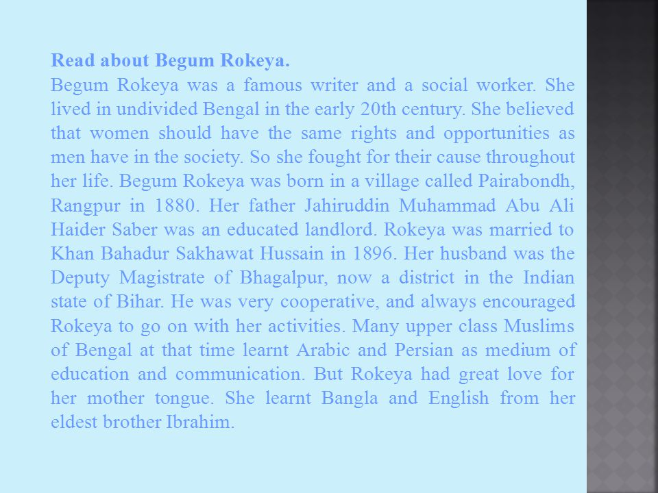 Read about Begum Rokeya.