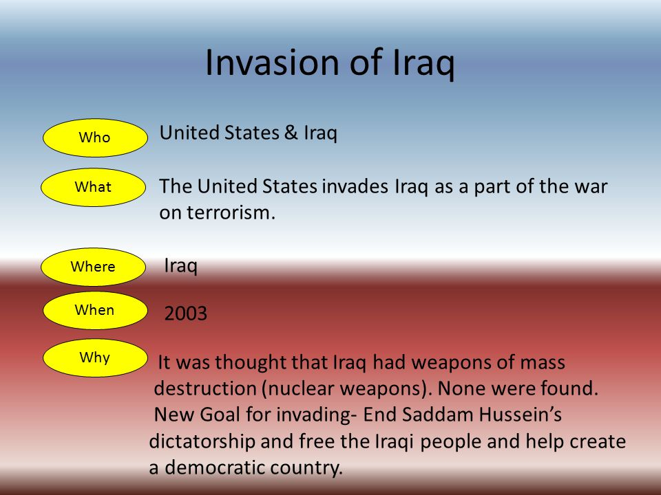 Invasion of Iraq United States & Iraq