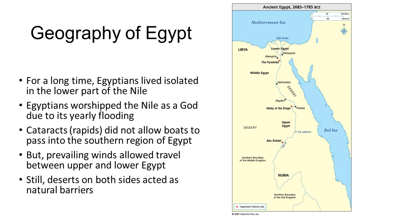 Geography of Egypt For a long time, Egyptians lived isolated in the lower part of the Nile.