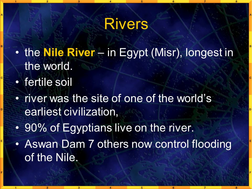 Rivers the Nile River – in Egypt (Misr), longest in the world.