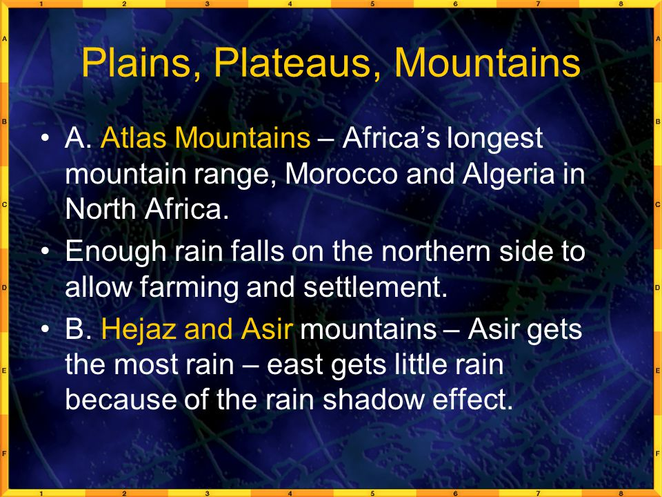 Plains, Plateaus, Mountains