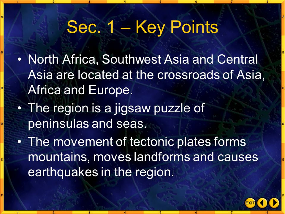 Sec. 1 – Key Points North Africa, Southwest Asia and Central Asia are located at the crossroads of Asia, Africa and Europe.
