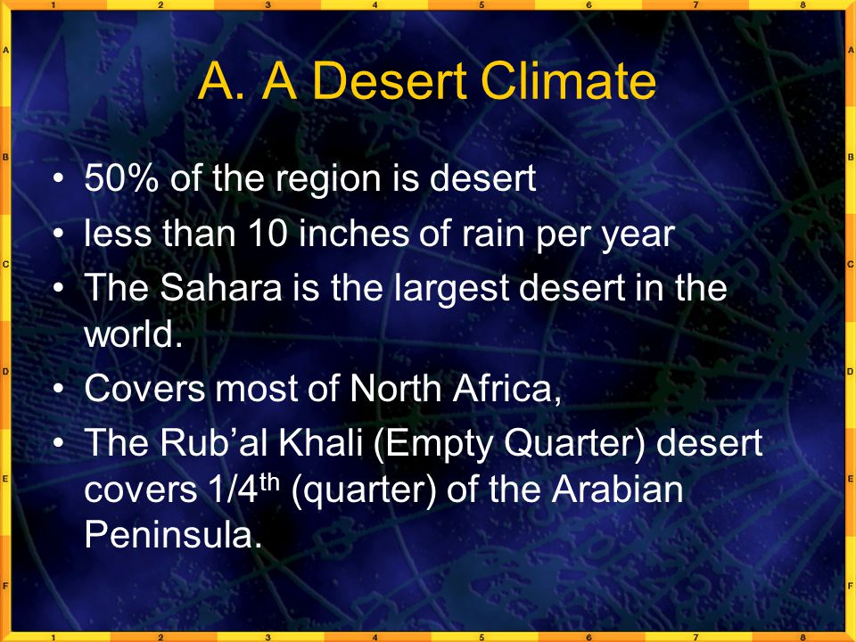 A. A Desert Climate 50% of the region is desert