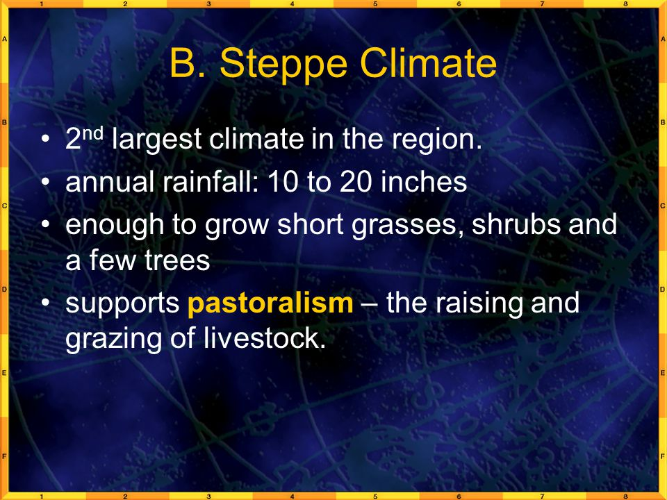 B. Steppe Climate 2nd largest climate in the region.