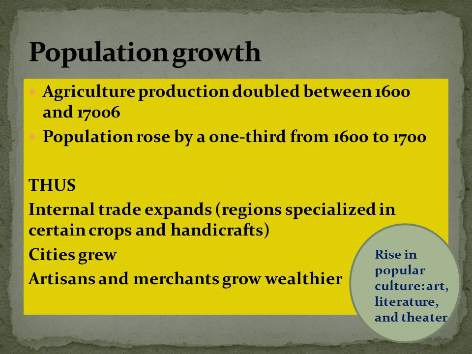 Population growth Agriculture production doubled between 1600 and 17006. Population rose by a one-third from 1600 to 1700.
