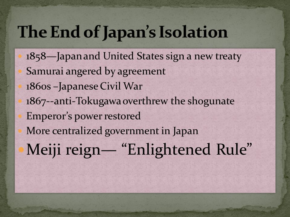 The End of Japan's Isolation