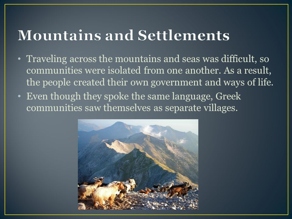 Mountains and Settlements