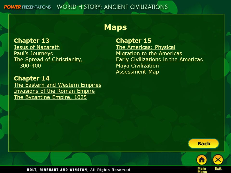 Maps Chapter 13 Chapter 14 Chapter 15 Jesus of Nazareth