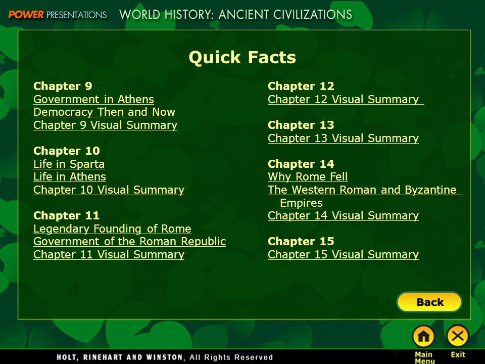 Quick Facts Chapter 9 Government in Athens Democracy Then and Now