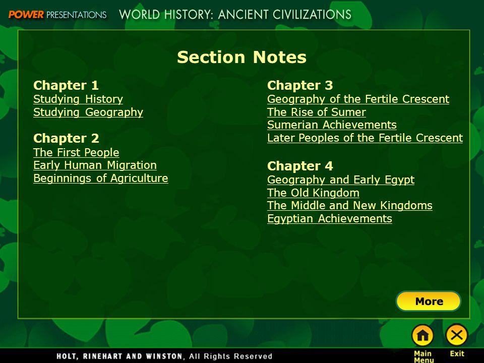 Section Notes Chapter 1 Chapter 2 Chapter 3 Chapter 4 Studying History
