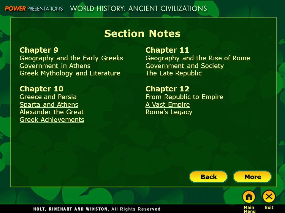 Section Notes Chapter 9 Chapter 10 Chapter 11 Chapter 12