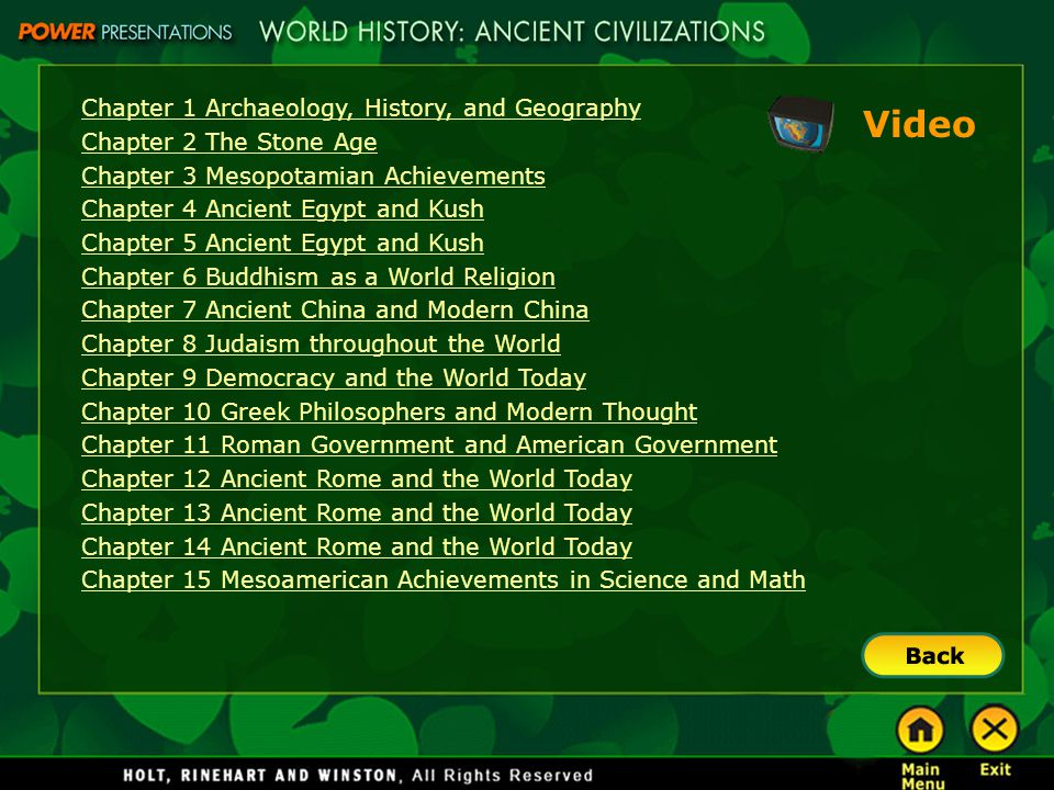 Video Chapter 1 Archaeology, History, and Geography