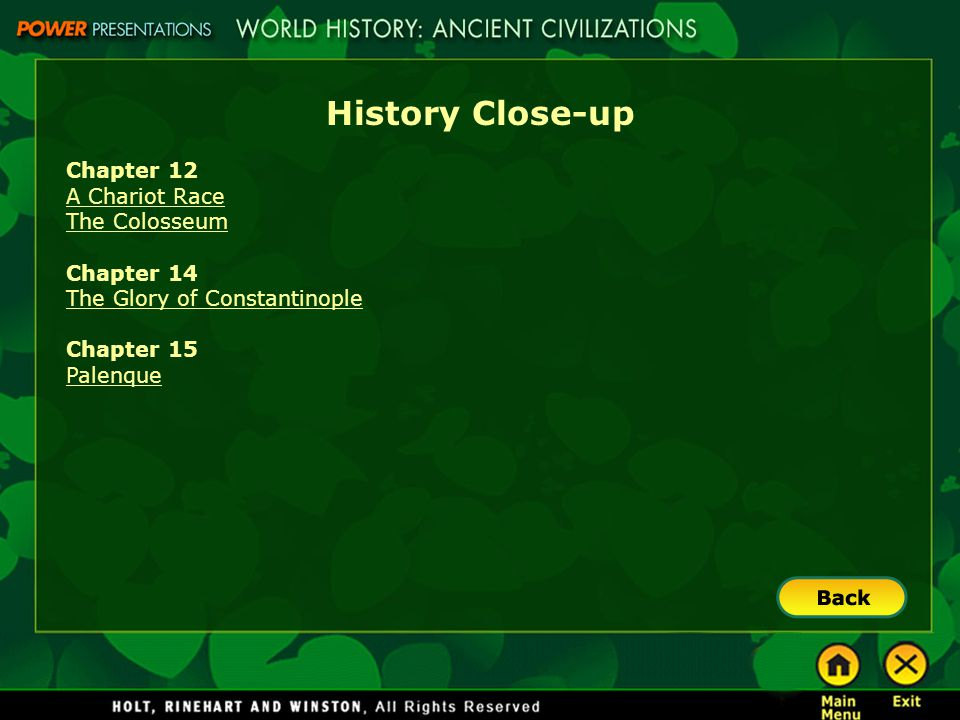 History Close-up Chapter 12 A Chariot Race The Colosseum Chapter 14