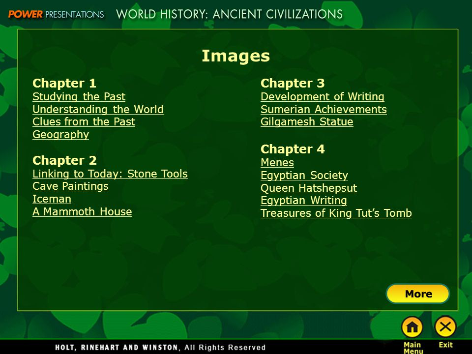 Images Chapter 1 Chapter 2 Chapter 3 Chapter 4 Studying the Past