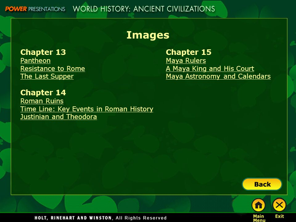 Images Chapter 13 Chapter 14 Chapter 15 Pantheon Resistance to Rome