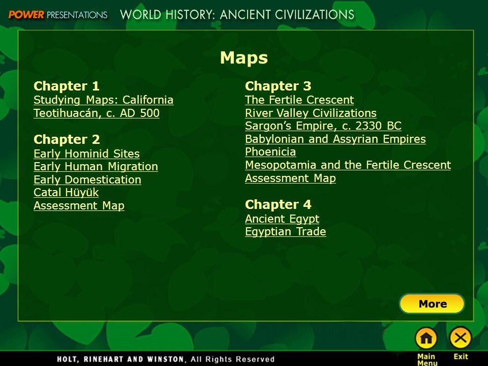 Maps Chapter 1 Chapter 2 Chapter 3 Chapter 4 Studying Maps: California
