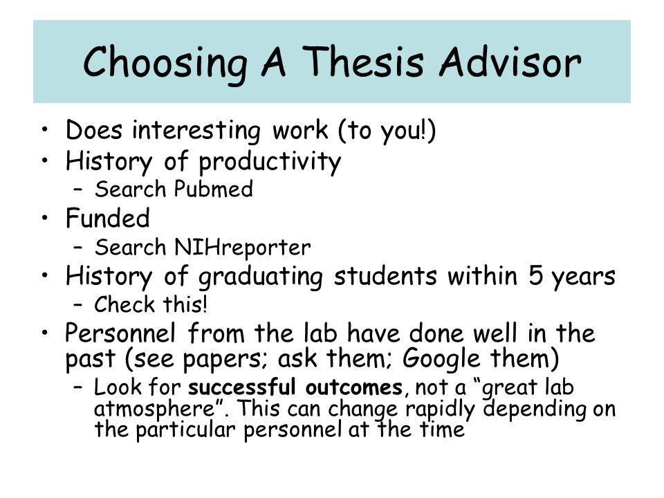 Choosing A Thesis Advisor