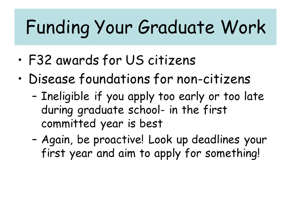 Funding Your Graduate Work