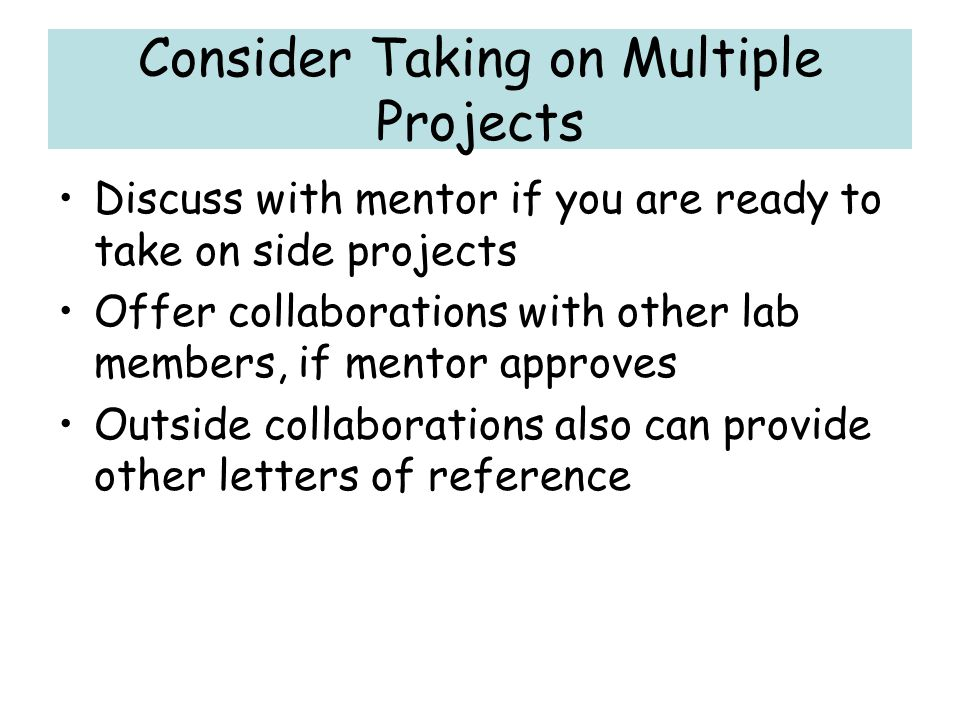 Consider Taking on Multiple Projects