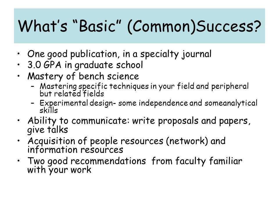 What's Basic (Common)Success