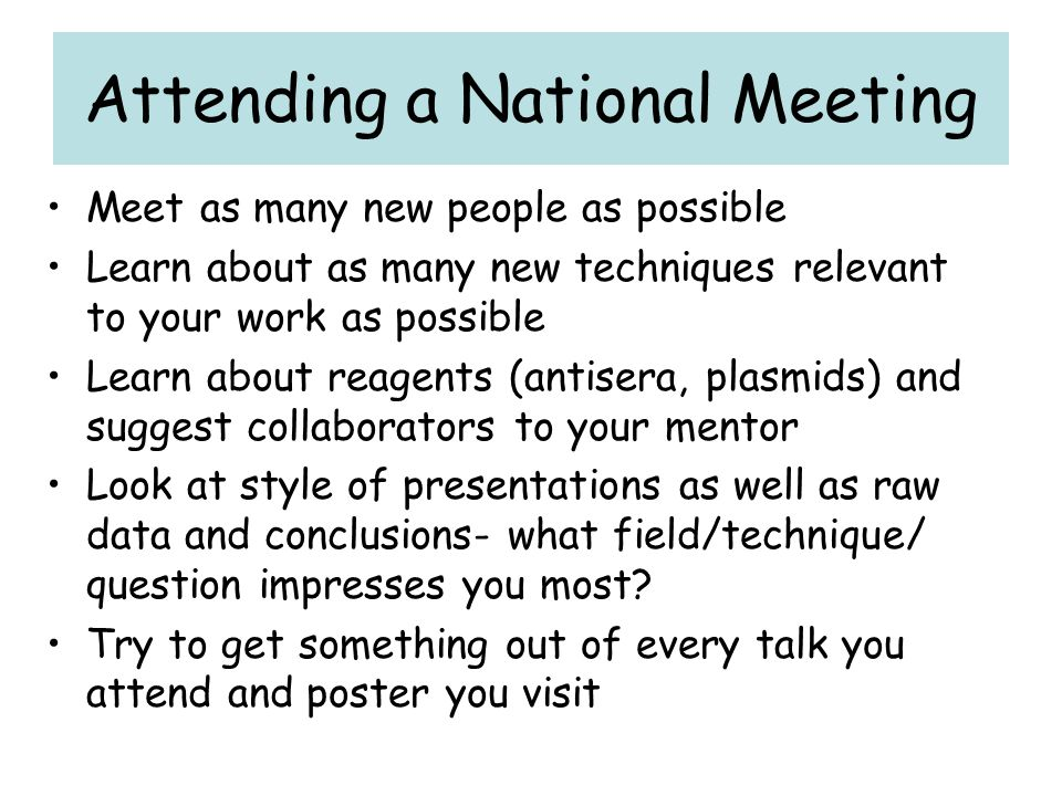 Attending a National Meeting
