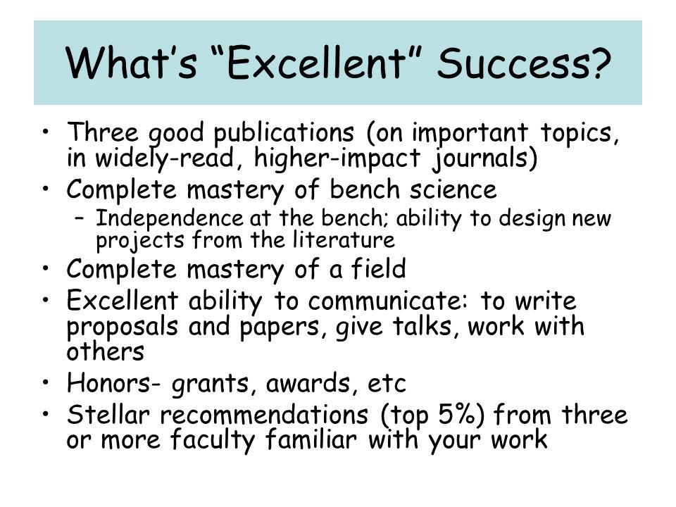 What's Excellent Success