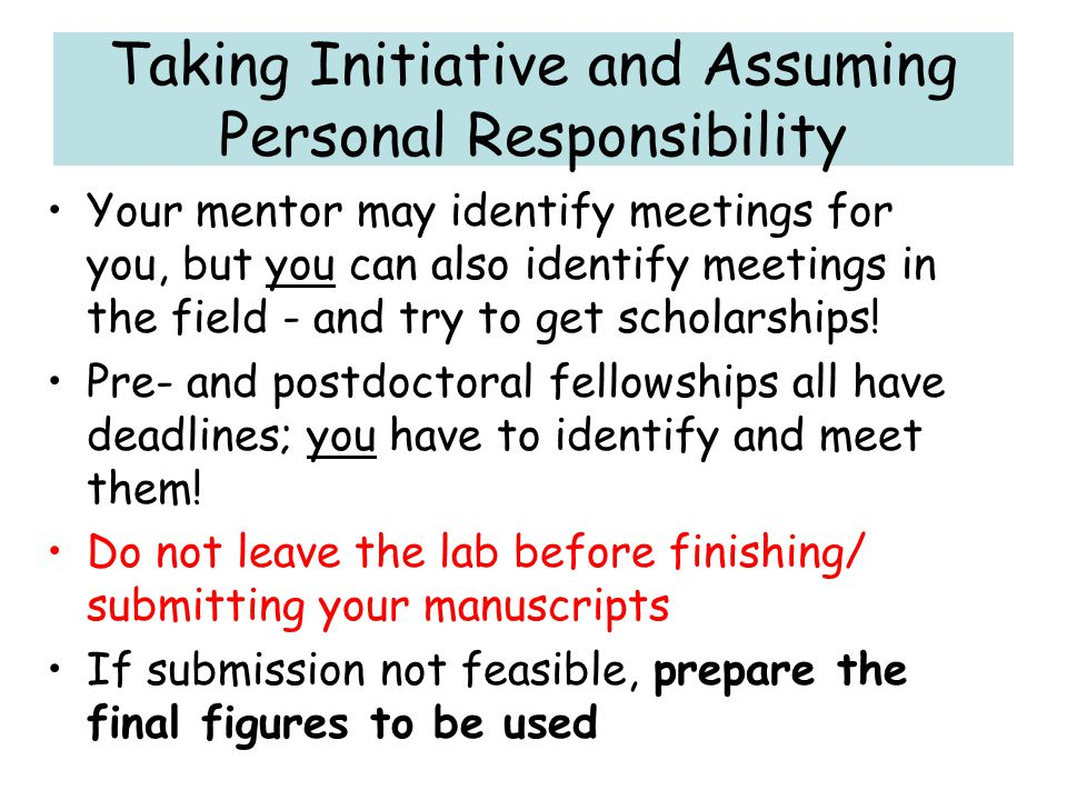 Taking Initiative and Assuming Personal Responsibility
