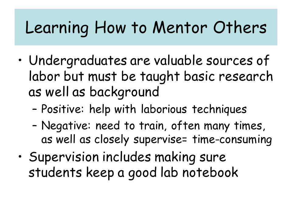 Learning How to Mentor Others
