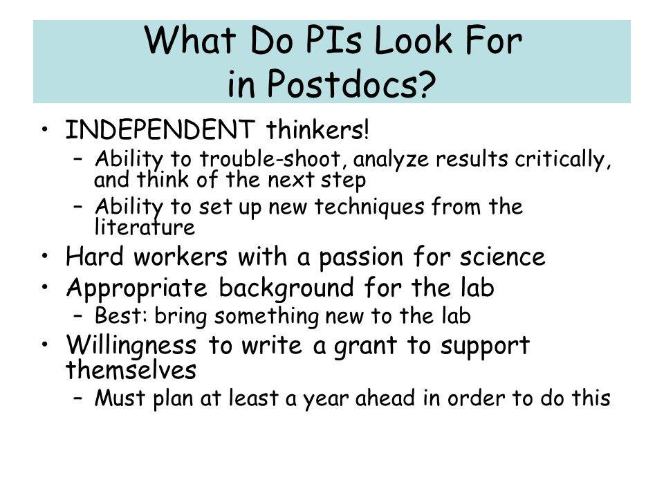 What Do PIs Look For in Postdocs