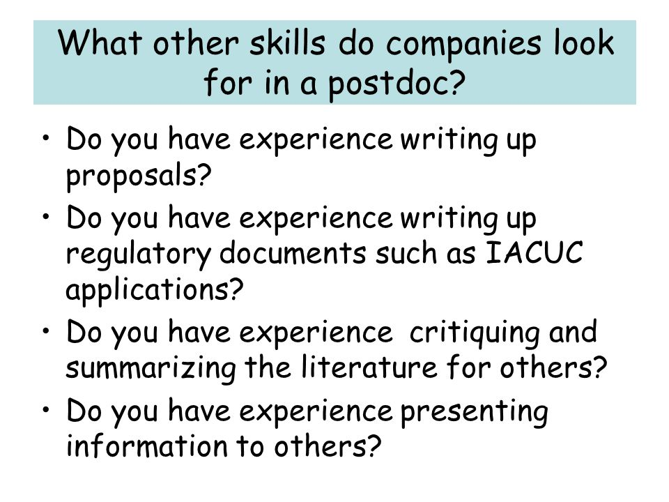 What other skills do companies look for in a postdoc