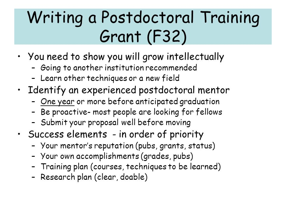 Writing a Postdoctoral Training Grant (F32)