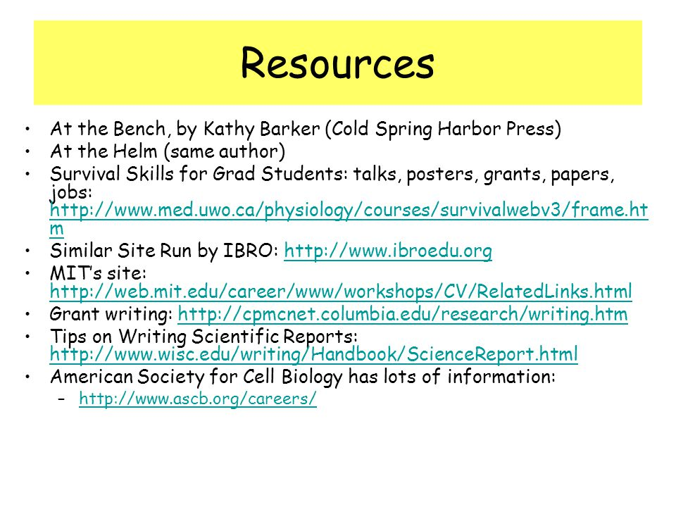 Resources At the Bench, by Kathy Barker (Cold Spring Harbor Press)